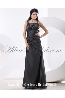 Taffeta Square Neckline Floor Length A-line Bridesmaid Dress with Embroidered