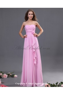 Chiffon Sweetheart Floor Length A-line Bridesmaid Dress with Hand-made Flower