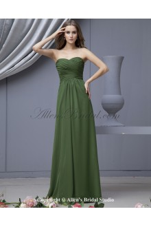 Satin and Chiffon Sweetheart Floor Length Empire Bridesmaid Dress with Pleat