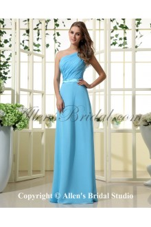 Chiffon Satin One-Shoulder Floor Length Empire Bridesmaid Dress with Pleat