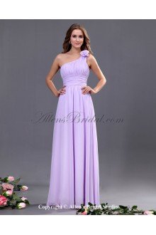 Chiffon One-Shoulder Floor Length A-line Bridesmaid Dress with Hand-made Flower