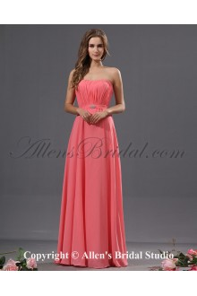 Chiffon Scoop Neckline Floor Length Column Bridesmaid Dress with Embroidered