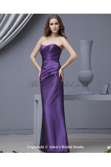 Taffeta Scoop Neckline Ankle-Length Sheath Bridesmaid Dress with Ruffle
