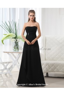 Chiffon Scoop Neckline Floor Length A-Line Bridesmaid Dress with Ruffle