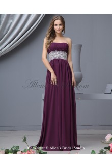 Chiffon Scoop Neckline Sweep Train Empire Bridesmaid Dress with Lace