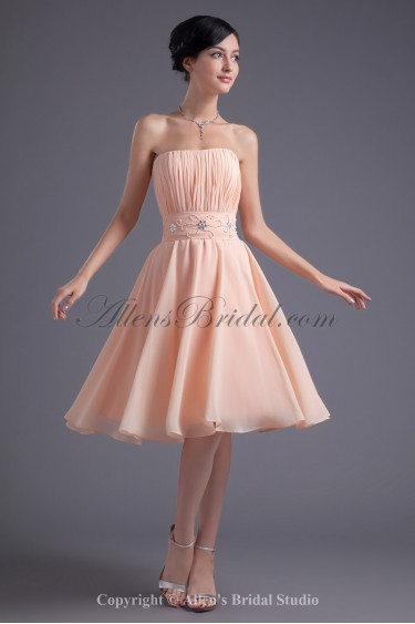 Chiffon Strapless A-Line Knee Length Sash and Beading Cocktail Dress