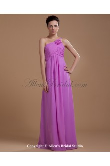 Chiffon One-Shoulder Floor Length Empire Bridesmaid Dress with Ruffle and Flower