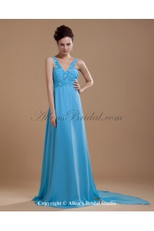 Chiffon V-Neck Floor Length A-line Bridesmaid Dress