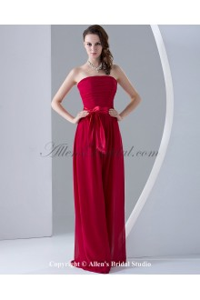 Chiffon Strapless Floor Length Column Bridesmaid Dress with Ruffle