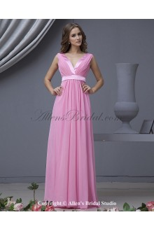 Chiffon V-Neck Floor Length Column Bridesmaid Dress with Ruffle