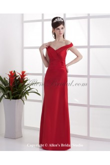 Taffeta Off-the-Shoudler Neckline Floor Length Empire Bridesmaid Dress with Ruffle