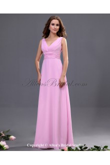 Chiffon V-Neck Floor Length A-line Bridesmaid Dress with Sash