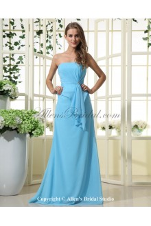 Chiffon Strapless Floor Length A-line Bridesmaid Dress with Crystal