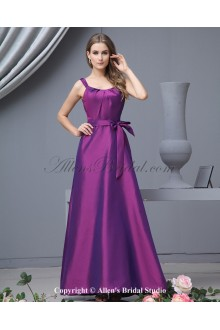 Taffeta Shoulder Straps Neckline Floor Length Empire Bridesmaid Dress with Bow