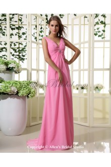 Chiffon V-Neck Floor Length Empire Bridesmaid Dress with Ruffle and Sequins