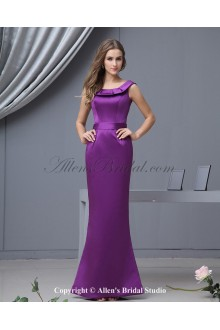 Satin Round Neckline Floor Length Sheath Bridesmaid Dress with Ruffle