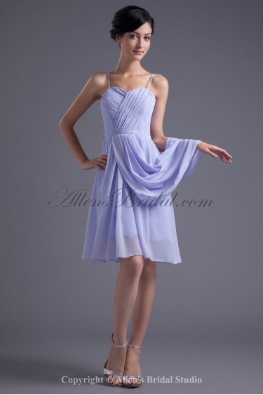 Chiffon Spaghetti Neckline Column Knee-Length Crisscross Ruched Cocktail Dress