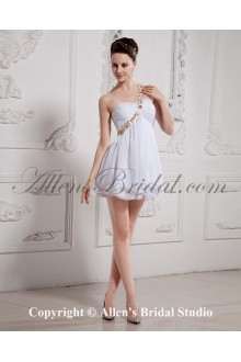 Chiffon One-Shoulder Thigh Length Column Cocktail Dress