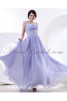 Chiffon and Satin Bateau Neckline Floor Length A-Line Cocktail Dress with Beaded