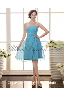 Chiffon Strapless Knee-Length A-line Cocktail Dress with Beaded and Ruffle