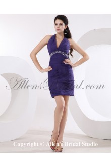 Chiffon Halter Neckline Thigh Length Sheath Cocktail Dress with Ruffle