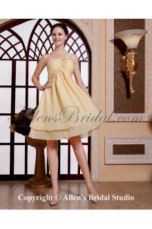 Chiffon One-Shoulder Knee-Length Empire Cocktail Dress with Beaded and Ruffle