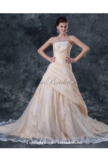 Gauze Strapless Chapel Train A-Line Wedding Dress with Embroidered