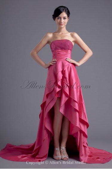 Taffeta Strapless A-Line Asymmetrical Sequins Prom Dress