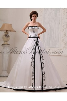 Satin Sweetheart Court Train A-Line Wedding Dress with Embroidered
