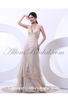 Satin Tulle Halter Neckline Court Train A-Line Wedding Dress with Embroidered