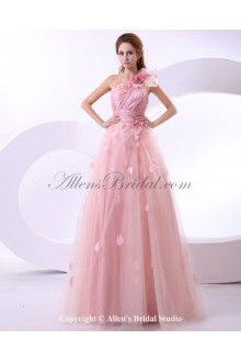 Satin One-Shoulder Floor Length A-Line Wedding Dress with Handmade Flower Embroidered