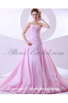 Taffeta Strapless Chapel Train A-Line Wedding Dress with Embroidered Ruffle