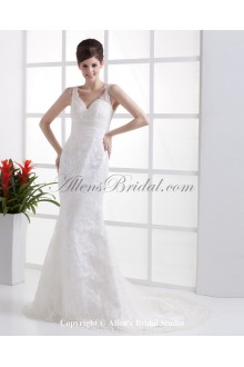 Lace V-Neck Brush Train Sheath Wedding Dress with Embroidered