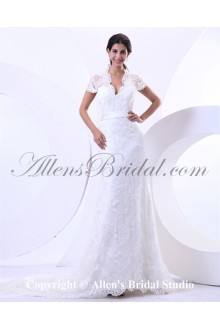Lace V-Neck Court Train Sheath Wedding Dress with Cap-Sleeves