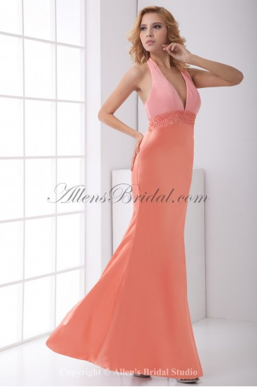 Satin V-Neckline Sheath Floor Length Sequins Prom Dress