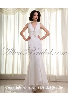 Chiffon and Satin V-Neck Cathedral Train Sheath Wedding Dress with Ruffle Embroidered