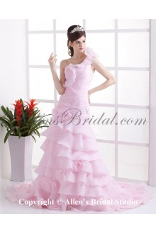 Organza One-Shoulder Cathedral Train A-Line Wedding Dress with Ruffle Flowers