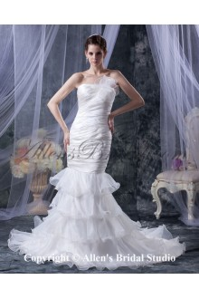 Organza Strapless Court Train Mermaid Wedding Dress with Ruffle Hand-made Flower
