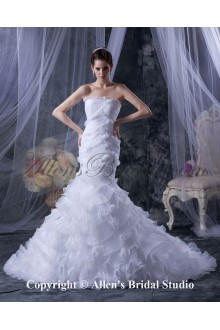 Satin and Yarn Strapless Cathedral Train Mermaid Wedding Dress with Ruffle