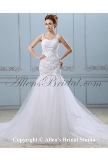 Satin and Grenadine Sweetheart Sweep Train Mermaid Wedding Dress with Ruffle Embroidered