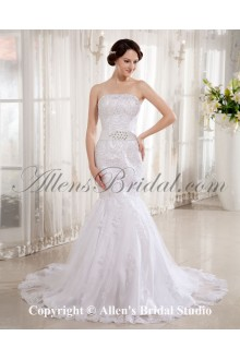 Lace Satin Strapless Cathedral Train Mermaid Wedding Dress