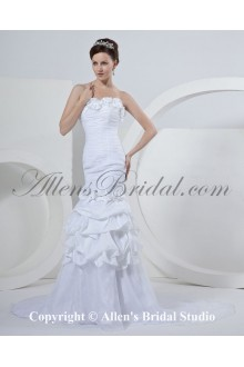 Taffeta Strapless Sweep Train Mermaid Wedding Dress with Embroidered