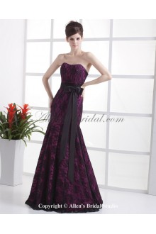 Satin and Lace Scoop Neckline Floor Length Mermaid Wedding Dress with Beaded