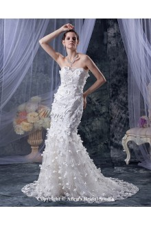 Lace Sweetheart Cathedral Train Mermaid Wedding Dress