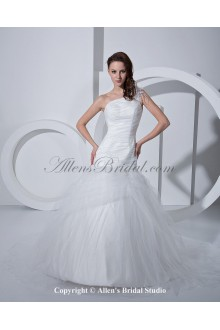 Satin Tulle One-Shoulder Sweep Train Mermaid Wedding Dress with Ruffle