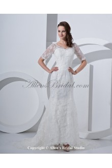 Satin Off-the-shoulder Court Train Mermaid Wedding Dress with Lace and Short Sleeves