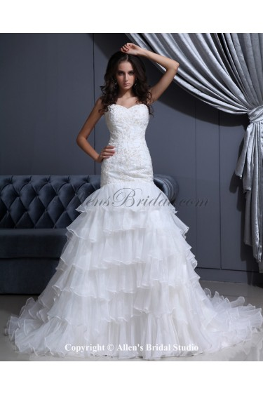 Organza Sweetheart Chapel Train Mermaid Wedding Dress with Embroidered and Ruffle