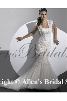 Satin Lace Sweetheart Court Train Mermaid Wedding Dress with Beaded