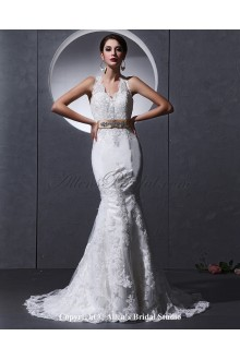 Lace and charmeuse Halter Neckline Cathedral Train Mermaid Wedding Dress with Embroidered