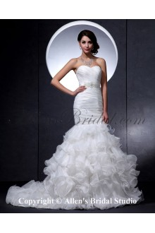 Satin and Lace Sweetheart Court Train Mermaid Wedding Dress with Crystal